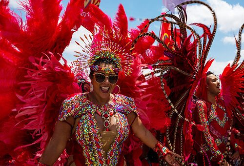 Playing Mas on Carnival Tuesday in Trinidad Carnival